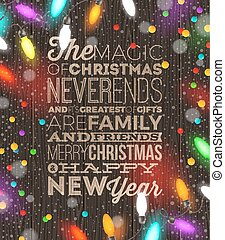 Christmas vector illustration with holiday type design and Christmas light garland