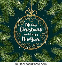 Christmas vector illustration - Glitter gold ornate bauble with brush calligraphy Christmas greeting.