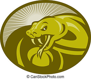 Angry snake viper baring its fangs with sunburst in background set inside an ellipse