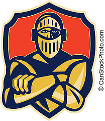 knight with arms crossed with shield in background -...