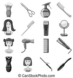 Barber icons set, gray monochrome style - Barber icons set....