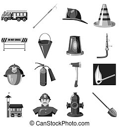 Fire safety icons set, gray monochrome style - Fire safety...