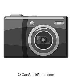 cinzento, estilo, frente,  câmera, ícone, monocromático, vista