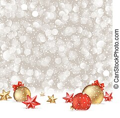 Vector Christmas greeting illustration with baubles and stars on a snow.