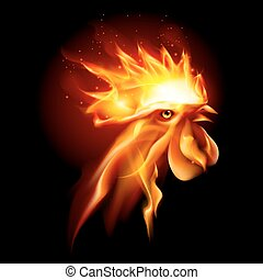 Fire Rooster - Silhouette of Head Red Cock. Fire Rooster...