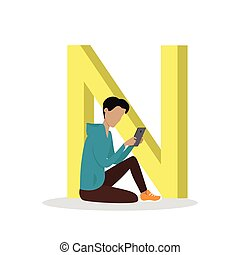 N Letter and Boy Reading E Book. ABC Vector