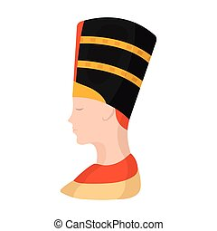 Bust of Nefertiti icon in cartoon style isolated on white background. Ancient Egypt symbol stock vector illustration.