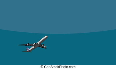 Big four engine airliner flying across the sky 4K 3D cartoon...