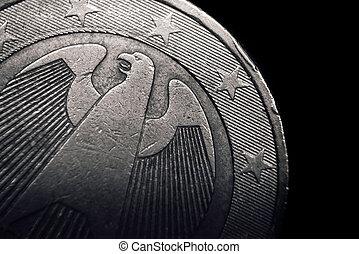 German euro coin. Business concept. Macro