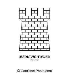 Medieval logo emblem template with outline icon - Medieval...