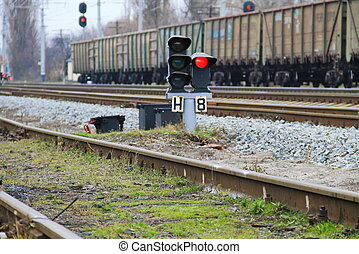 Red semaphore signal on railway - Red semaphore signal on...