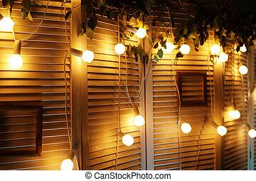 beautiful lights on wall decor for Christmas shoot.