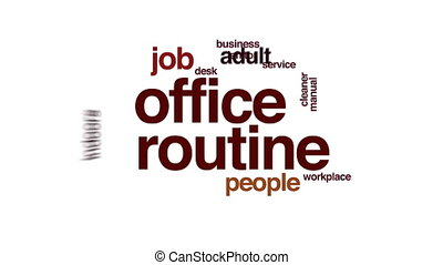 Office routine animated word cloud.