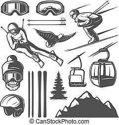 Nordic Skiing Elements Set - Isolated monochrome skiing...