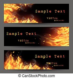 Fire Flame Banners Set - Fire flame horizontal banners set...