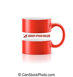 Red mug with space in the middle - Red mug with linear space...