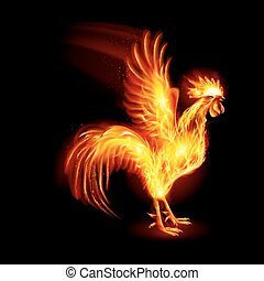 Fire Rooster - Silhouette of Red Cock. Fire Rooster Symbol...