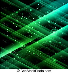 Space - Abstract green space with fast flying stars