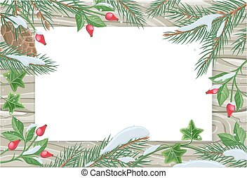 Vector Frame with Pine Tree, Sweetbrier Brunches - Vector...