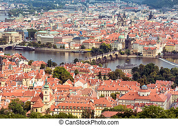 Aerial view of Charles Bridge over Vltava river and Old city. Prague, Czech Republic