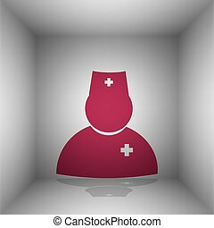 Doctor sign illustration. Bordo icon with shadow in the...