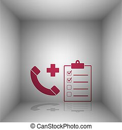 Medical consultration sign. Bordo icon with shadow in the...
