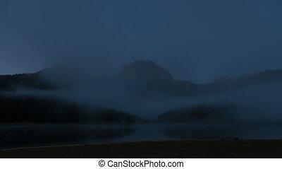 Time lapse of Beautiful mystical lake. Black Lake, Durmitor...