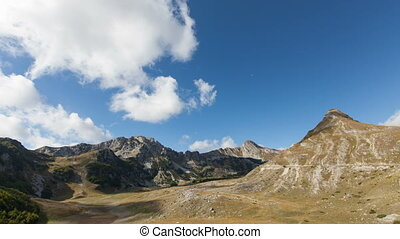 time lapse of Mountains inside a national park Durmitor,...