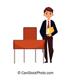 Clever school boy sitting at the desk with open book