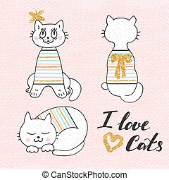 Cute vector illustration of white cat in striped sweater . Lovely hand drawn card. Details with gold glitter.