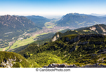 Aerial view over the village of Garmisch - Aerial view from...