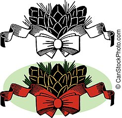 Christmas Pine Cones and Bow - A cluster of holiday pine...