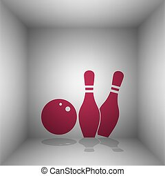 Bowling sign illustration. Bordo icon with shadow in the...