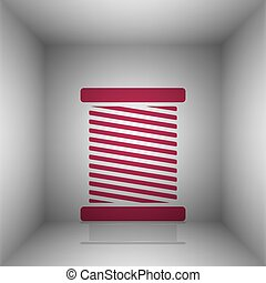 Thread sign illustration. Bordo icon with shadow in the...