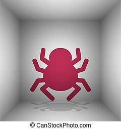 Spider sign illustration. Bordo icon with shadow in the...