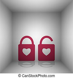 lock sign with heart shape. A simple silhouette of the lock. Shape of a heart. Bordo icon with shadow in the room.