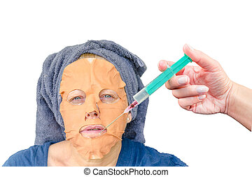 Cosmetic face mask and a botulinum injection - Close-up...