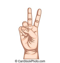 human hand design - human hand with number gesture...
