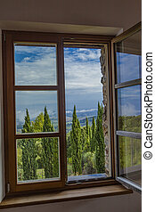 Montalcino - Look out the window at nature in Tuscany, Italy