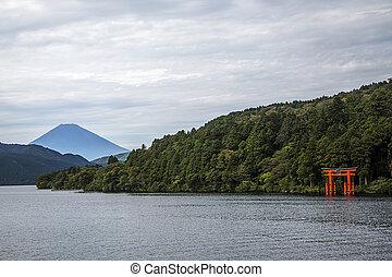 Hakone, lake Ashi - The red torii in Lake Ashi, Hakone,Japan