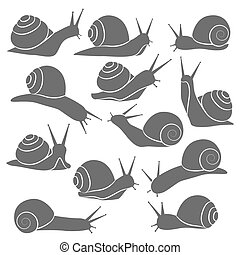 Monochrome Snails Icon Set