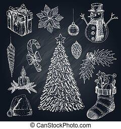 Christmas Elements On Chalkboard Set