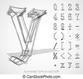 Vector illustration of a sketched Numbers And Mathematical Symbols. Hand drawn 3D Numbers And Mathematical Symbols.