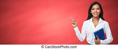 Asian business woman presenting copy space. - Beautiful...
