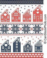 Seamless Scandinavian style and Nordic culture inspired Christmas and festive winter pattern in cross stitch style with gingerbread house village including decorative elements in red, white , blue