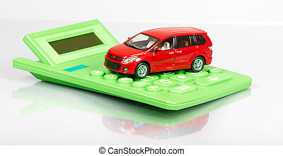 Red car and calculator.