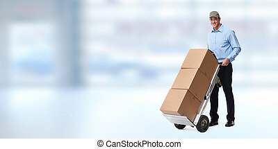 Delivery man with parcels.