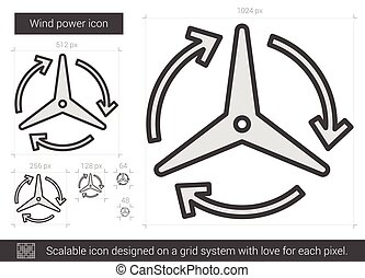 Wind power line icon. - Wind power vector line icon isolated...