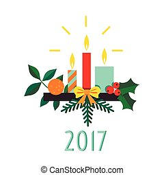Christmas candle on a light background
