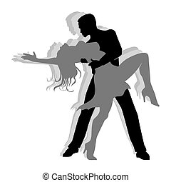 Silhouette of Couple dancing salsa